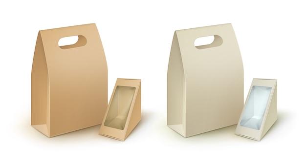 Set van rechthoekige driehoek om mee te nemen lunchboxen