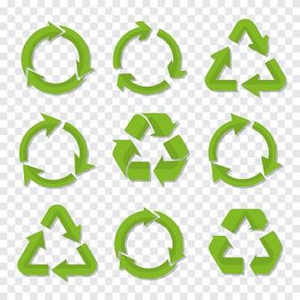 Set van recycle pictogram in groene kleur met schaduw