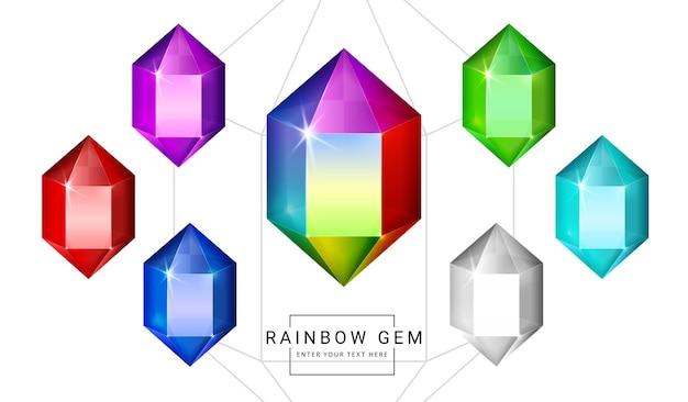 Set van regenboogkleuren fantasie sieraden edelstenen, veelhoek kristalvorm steen voor spel.