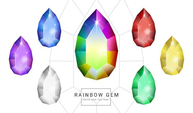 Set van regenboogkleurige fantasiejuwelen edelstenen, ovale traanvormige steen voor spel.