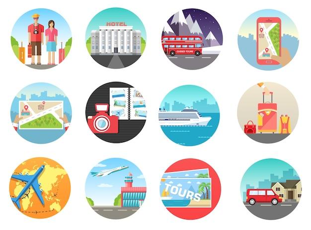 Set van reizen vakantie tour reis op het water