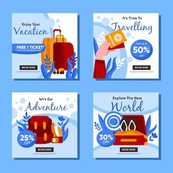Set van reizende verkoop posts op sociale media