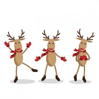 Set van rendieren voor kerstvakantie seizoen.