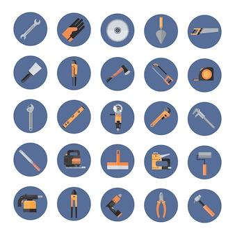 Set van reparatie en constructie werken handgereedschap, apparatuur collectie