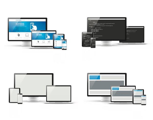 Set van responsieve webdesign en website codering ontwikkelingsconcepten