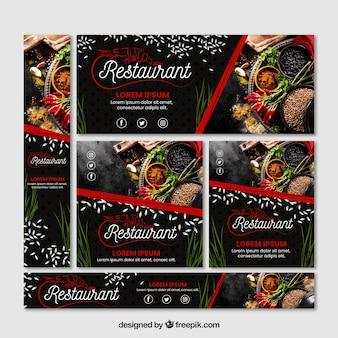 Set van restaurant banners met foto