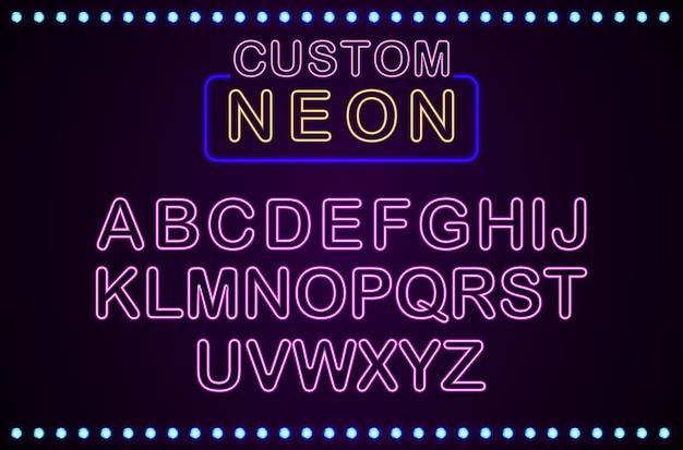 Set van retro aangepaste neon teken achtergrond