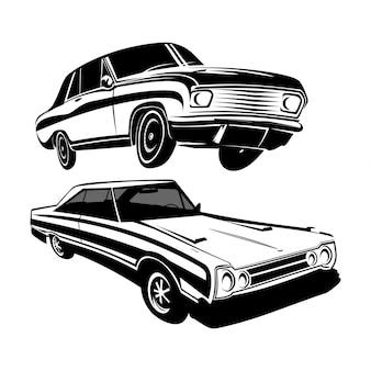 Set van retro auto voertuig silhouetten logo vector ontwerp