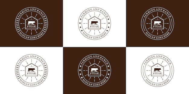 Set van retro badge steak house logo-ontwerp voor restaurant en ranch