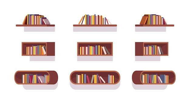 Set van retro boekenkasten