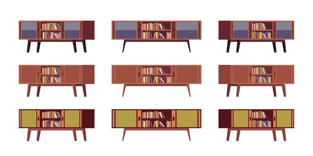 Set van retro credenzas met boekenkasten