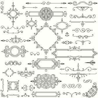 Set van retro designelementen