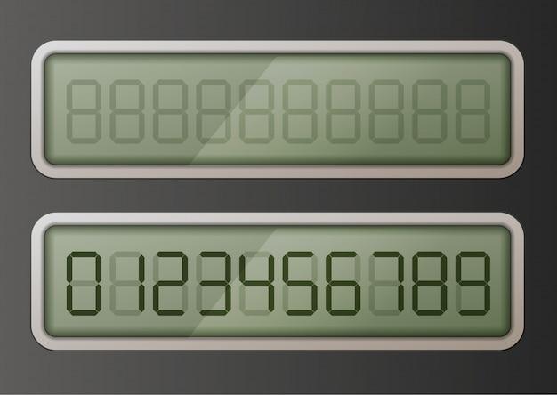Set van retro digitale elektronische nummers op glanzend display