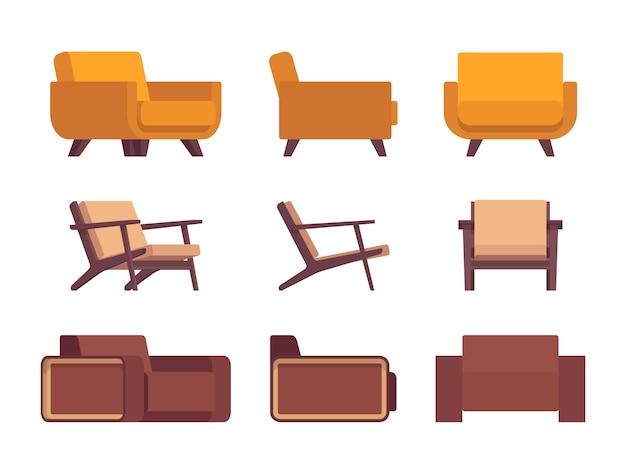 Set van retro fauteuils