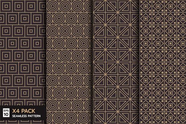 Set van retro geometrische naadloze lijnpatroon