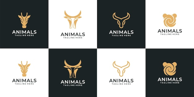 Set van retro hipster silhouet dier logo