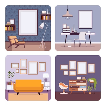 Set van retro interieur frames f