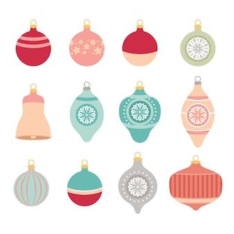 Set van retro kerstspeelgoed voor het versieren van de kerstboom