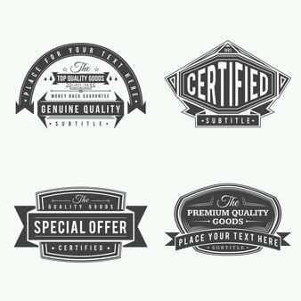 Set van retro lint vintage stijl labels en banners zwarte kleur ontwerp