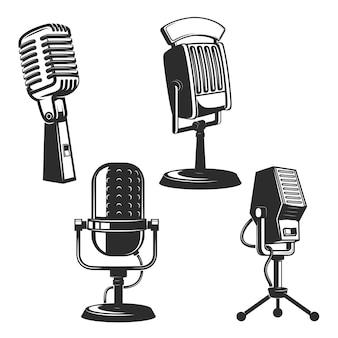 Set van retro microfoons