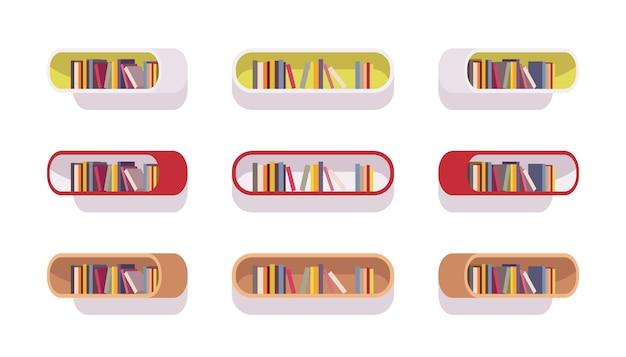 Set van retro ovale boekenkasten