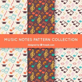 Set van retro patronen van muzieknoten