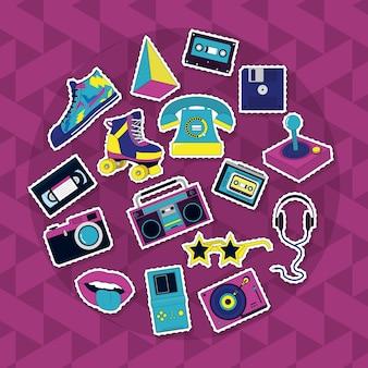 Set van retro pictogrammen