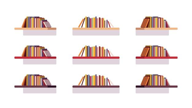 Set van retro platte boekenkasten