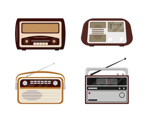 Set van retro radio's. vintage radio collectie geïsoleerd op een witte achtergrond.