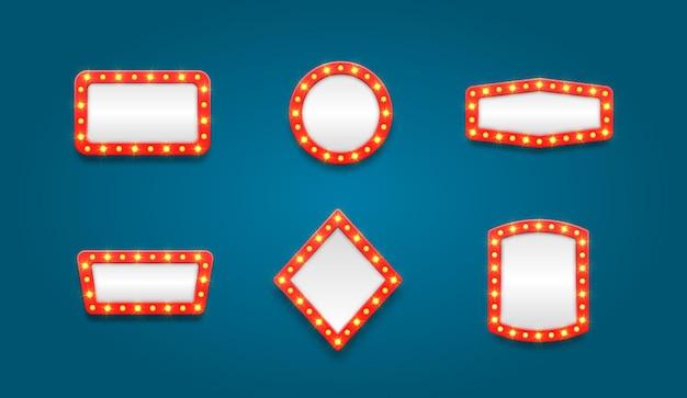 Set van retro selectiekader lege frames frames voor filmcasino lamp voor make-upruimte