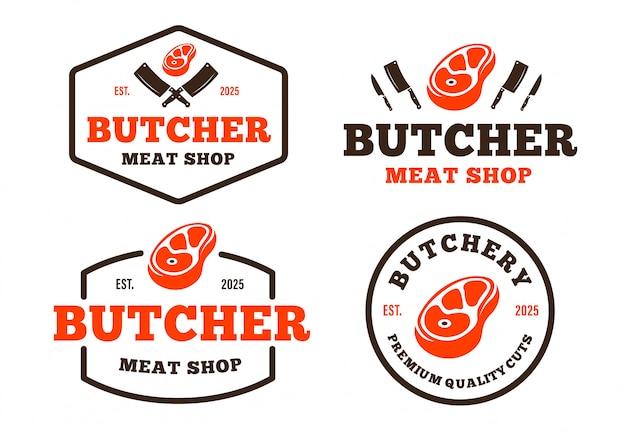 Set van retro-stijl slagerij-logo voor boodschappen, vleeswinkels, verpakkingen en reclame