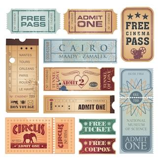 Set van retro tickets en kortingsbonnen
