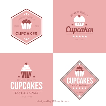 Set van retro vintage cup cakes labels