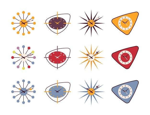 Set van retro wandklokken