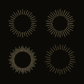 Set van retro zonnestralen