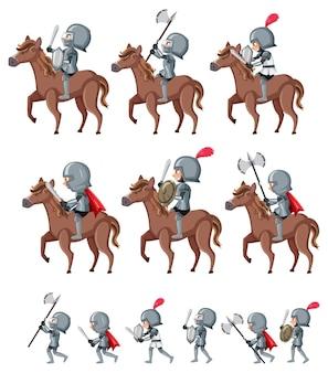 Set van ridder stripfiguur op witte achtergrond