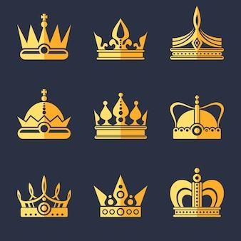 Set van rijke gouden kronen