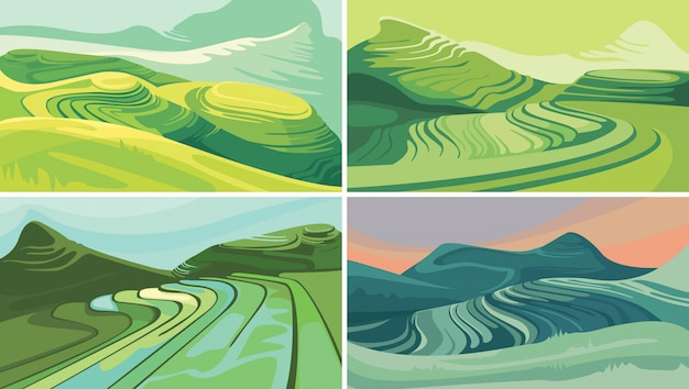 Set van rijstterrassen. prachtige agrarische landschappen.