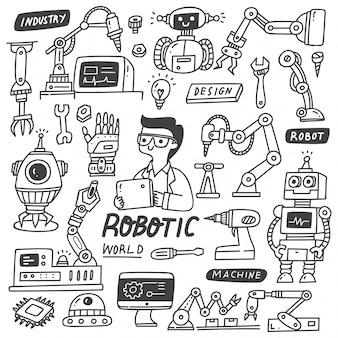 Set van robotachtige industrie doodles