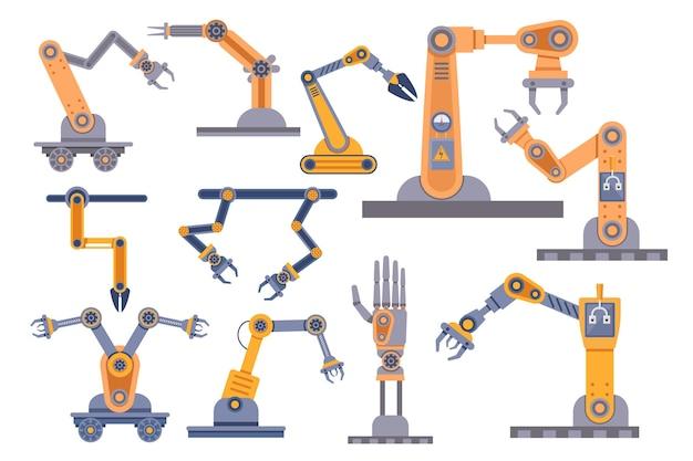 Set van robotarmen en mechanische klauwen collectie geïsoleerd op een witte achtergrond. robot geautomatiseerde handen, manipulatoren