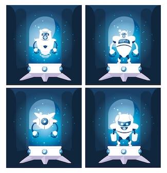 Set van robots cartoon over blauw