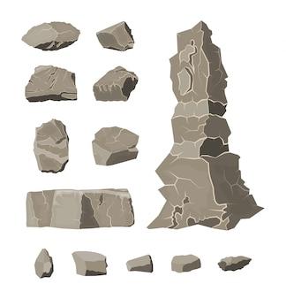 Set van rock stone. stenen rotsen in verschillende maten