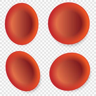 Set van rode bloedcellen of erytrocyten geïsoleerd