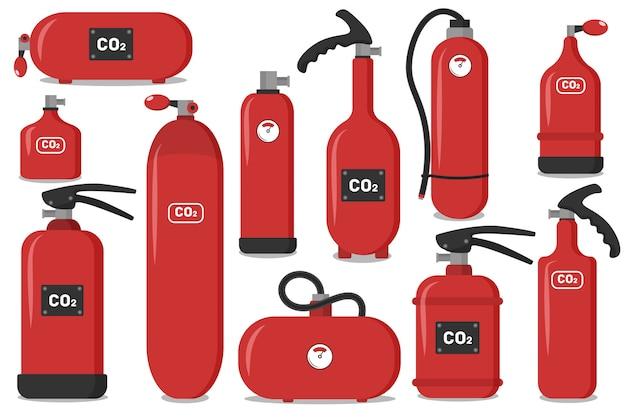 Set van rode brandblussers, pictogrammen - veiligheidssymbool - beschermingsmiddelen - noodsituatie teken.