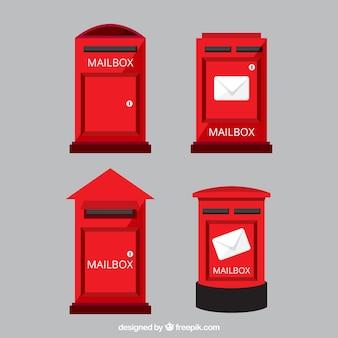 Set van rode brievenbussen