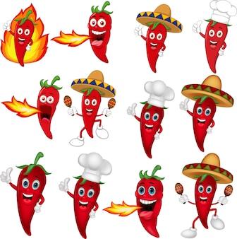 Set van rode chili pepers cartoon