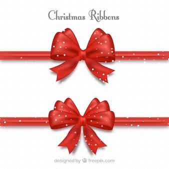 Set van rode decoratieve linten voor kerst cadeaus