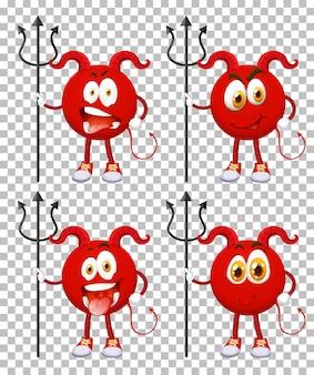 Set van rode duivel stripfiguur met gezichtsuitdrukking op transparante achtergrond
