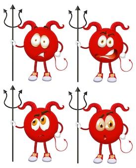 Set van rode duivel stripfiguur met gezichtsuitdrukking op witte achtergrond