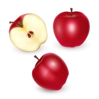 Set van rode en rijpe appels op wit